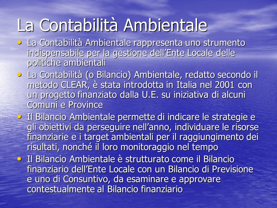La Contabilità Ambientale La Contabilità Ambientale rappresenta uno strumento indispensabile per la gestione dellEnte Locale delle politiche ambiental