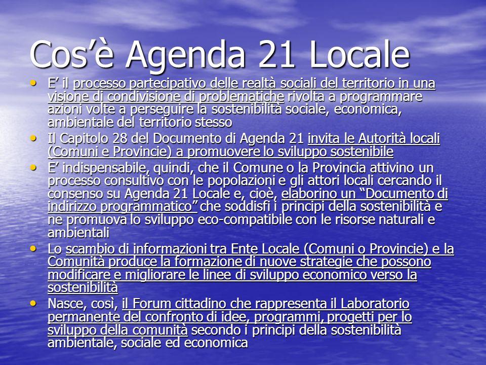 Quali sono le Fasi di A21L Il processo di costruzione di Agenda 21 Locale avviene attivando le fasi seguenti: Il processo di costruzione di Agenda 21 Locale avviene attivando le fasi seguenti: Primo: Il Comune o la Provincia deve aderire al Coordinamento nazionale e della propria Regione con atto deliberativo assumendo formale impegno a condividere e perseguire i principi contenuti nella Carta di Aalborg, oggi rappresentata da Aalborg Commitments ovvero i 10 impegni di Aalborg sottoscritti nel 2004 Primo: Il Comune o la Provincia deve aderire al Coordinamento nazionale e della propria Regione con atto deliberativo assumendo formale impegno a condividere e perseguire i principi contenuti nella Carta di Aalborg, oggi rappresentata da Aalborg Commitments ovvero i 10 impegni di Aalborg sottoscritti nel 2004 Secondo: LEnte Locale costituisce un Ufficio di A21L che avvia il processo e promuove la costituzione del Forum cittadino, predispone il Documento sugli indirizzi programmatici per sottoporlo alla sua condivisione Secondo: LEnte Locale costituisce un Ufficio di A21L che avvia il processo e promuove la costituzione del Forum cittadino, predispone il Documento sugli indirizzi programmatici per sottoporlo alla sua condivisione Terzo: Si costituisce il Forum e i Gruppi di Lavoro che individuano le aree tematiche per analizzare i problemi della comunità e individua le strategie dintervento Terzo: Si costituisce il Forum e i Gruppi di Lavoro che individuano le aree tematiche per analizzare i problemi della comunità e individua le strategie dintervento Quarto: Si elabora un Piano di Azioni (supportato da uno studio tecnico-scientifico (detto Rapporto Ambientale) che individua le Azioni da perseguire con progetti mirati e con verifiche periodiche Quarto: Si elabora un Piano di Azioni (supportato da uno studio tecnico-scientifico (detto Rapporto Ambientale) che individua le Azioni da perseguire con progetti mirati e con verifiche periodiche