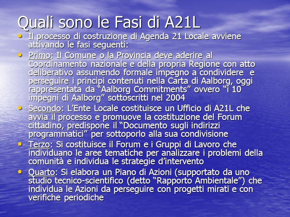 Quali sono le Fasi di A21L Il processo di costruzione di Agenda 21 Locale avviene attivando le fasi seguenti: Il processo di costruzione di Agenda 21