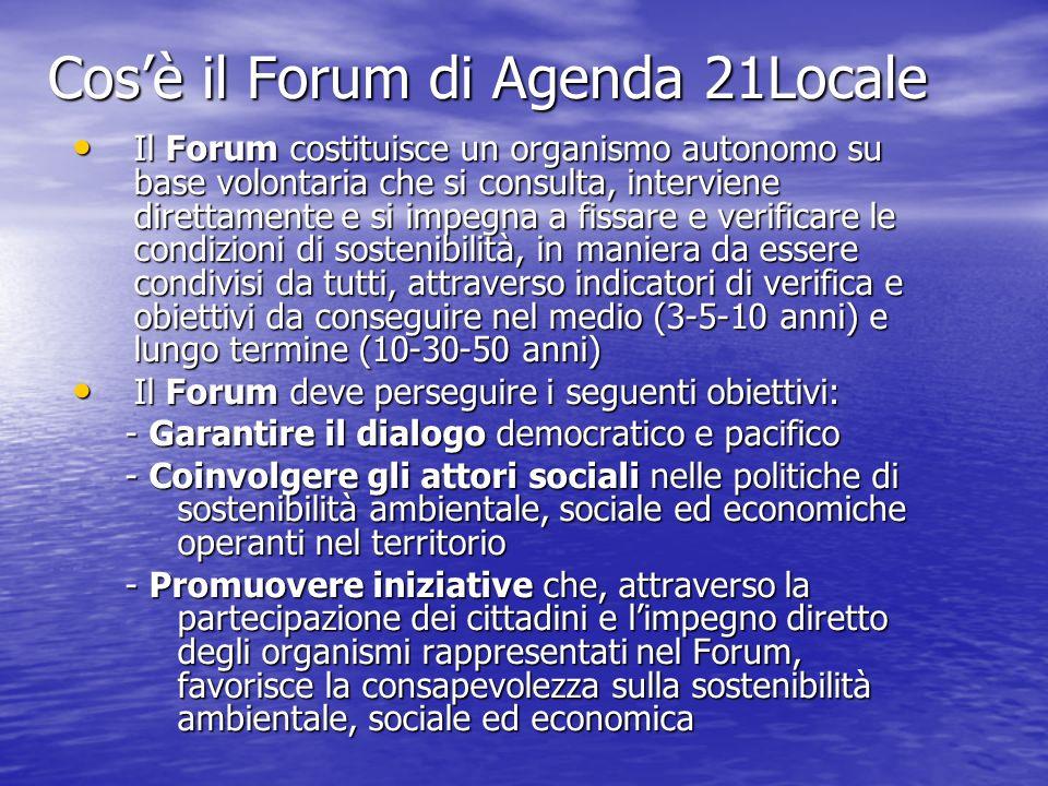Cosè il Forum di Agenda 21Locale Il Forum costituisce un organismo autonomo su base volontaria che si consulta, interviene direttamente e si impegna a