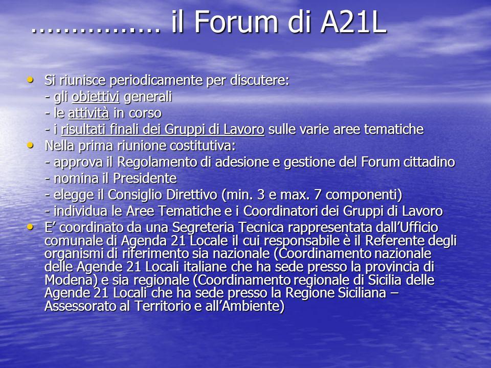 ………….… il Forum di A21L Si riunisce periodicamente per discutere: Si riunisce periodicamente per discutere: - gli obiettivi generali - le attività in