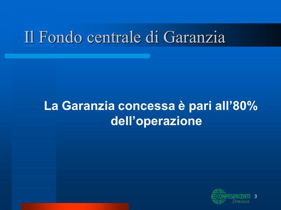 3 Il Fondo centrale di Garanzia La Garanzia concessa è pari all80% delloperazione
