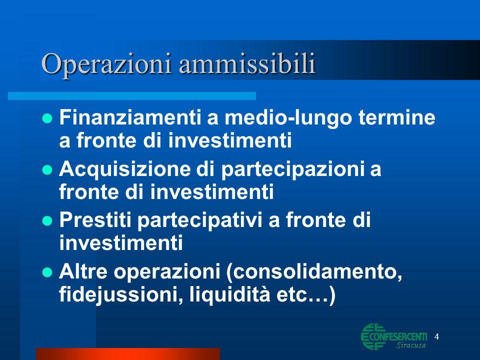 4 Operazioni ammissibili Finanziamenti a medio-lungo termine a fronte di investimenti Acquisizione di partecipazioni a fronte di investimenti Prestiti