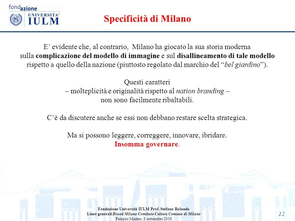 12 E evidente che, al contrario, Milano ha giocato la sua storia moderna sulla complicazione del modello di immagine e sul disallineamento di tale mod