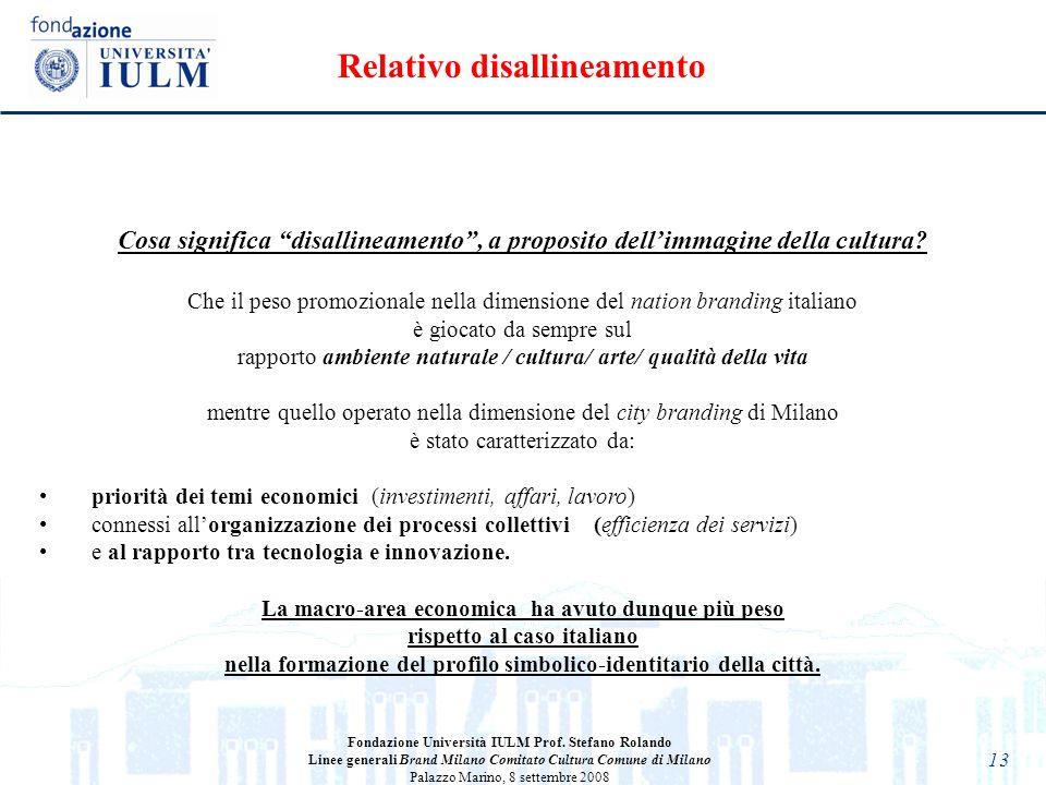 13 Fondazione Università IULM Prof. Stefano Rolando Linee generali Brand Milano Comitato Cultura Comune di Milano Palazzo Marino, 8 settembre 2008 Cos