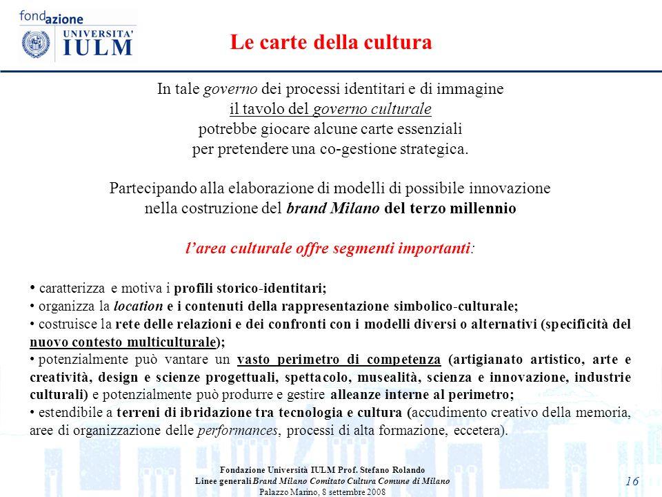 16 Fondazione Università IULM Prof. Stefano Rolando Linee generali Brand Milano Comitato Cultura Comune di Milano Palazzo Marino, 8 settembre 2008 In