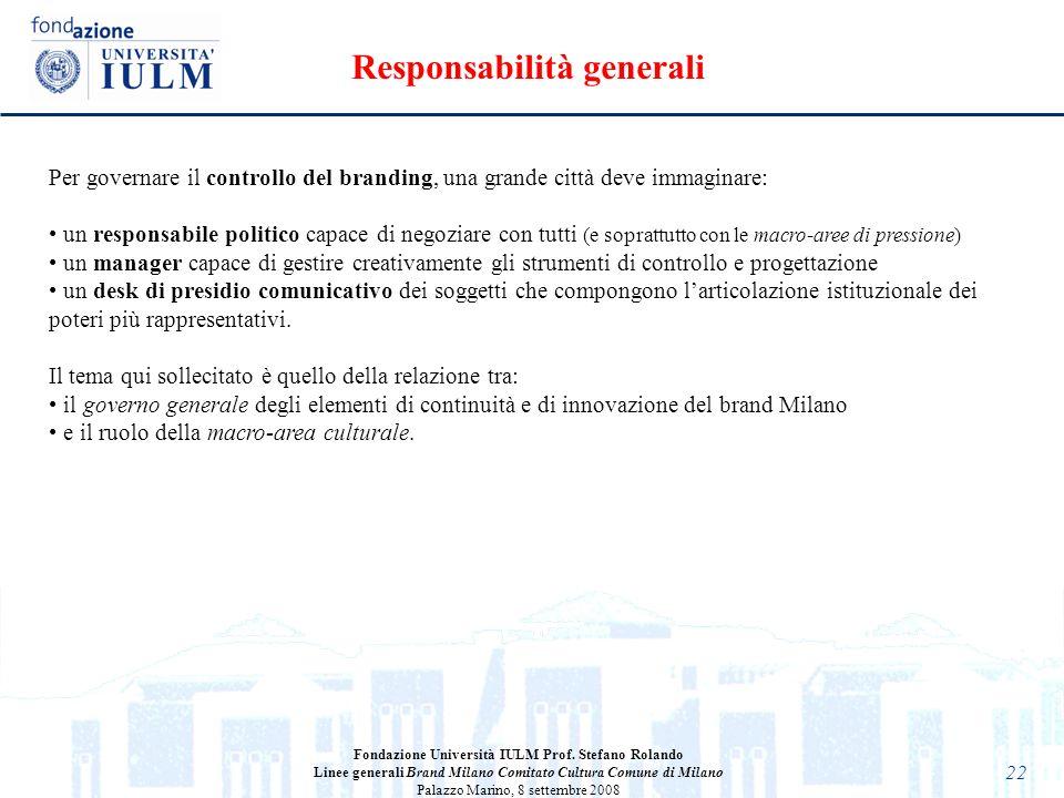 22 Fondazione Università IULM Prof. Stefano Rolando Linee generali Brand Milano Comitato Cultura Comune di Milano Palazzo Marino, 8 settembre 2008 Per