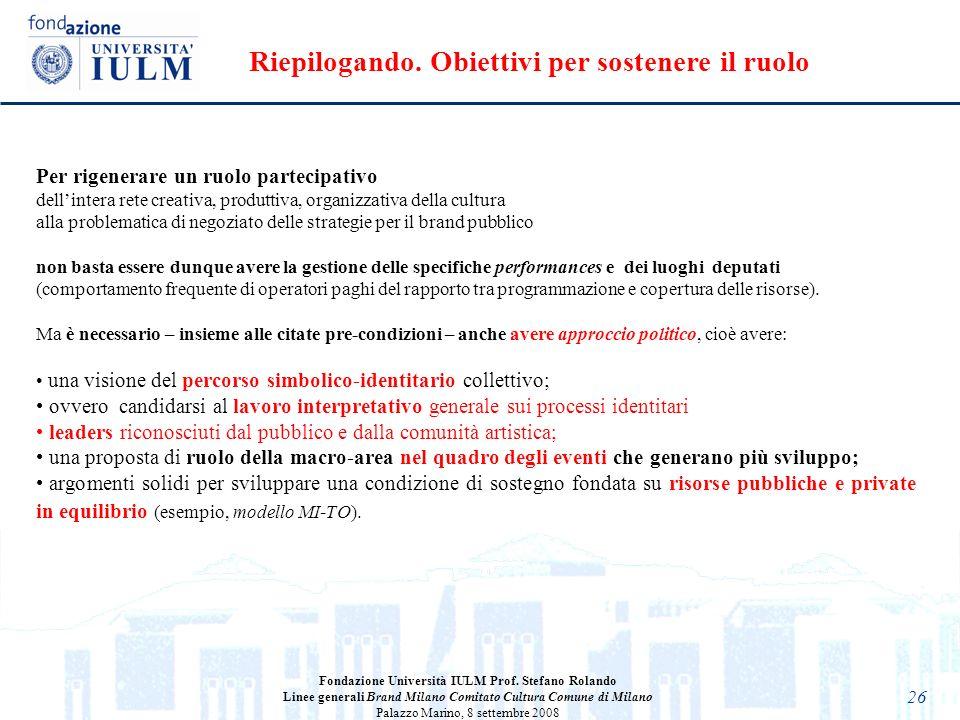26 Fondazione Università IULM Prof. Stefano Rolando Linee generali Brand Milano Comitato Cultura Comune di Milano Palazzo Marino, 8 settembre 2008 Per