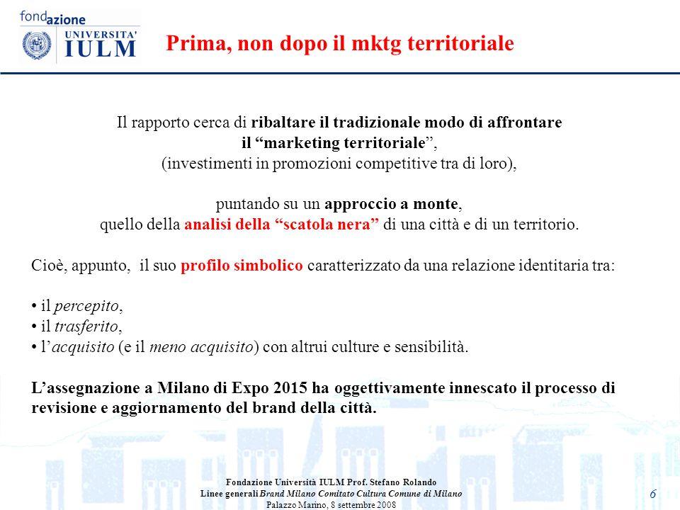 6 Il rapporto cerca di ribaltare il tradizionale modo di affrontare il marketing territoriale, (investimenti in promozioni competitive tra di loro), p