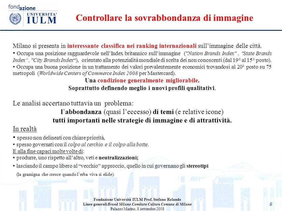 9 Milano si presenta in interessante classifica nei ranking internazionali sullimmagine delle città. Occupa una posizione ragguardevole nellIndex brit