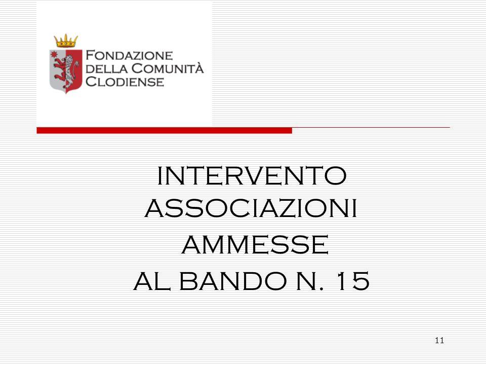 11 INTERVENTO ASSOCIAZIONI AMMESSE AL BANDO N. 15