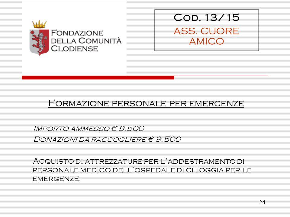 24 Formazione personale per emergenze Importo ammesso 9.500 Donazioni da raccogliere 9.500 Acquisto di attrezzature per laddestramento di personale medico dellospedale di chioggia per le emergenze.
