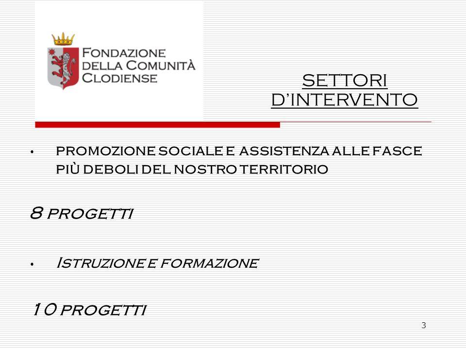 3 promozione sociale e assistenza alle fasce più deboli del nostro territorio 8 progetti Istruzione e formazione 10 progetti SETTORI DINTERVENTO