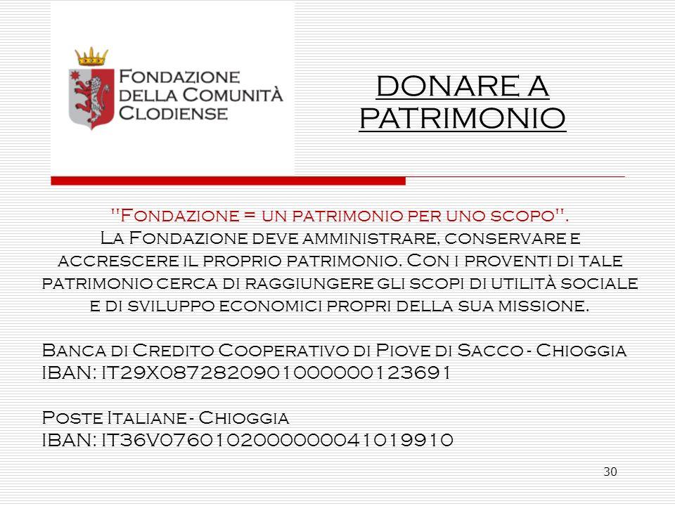 30 Fondazione = un patrimonio per uno scopo .