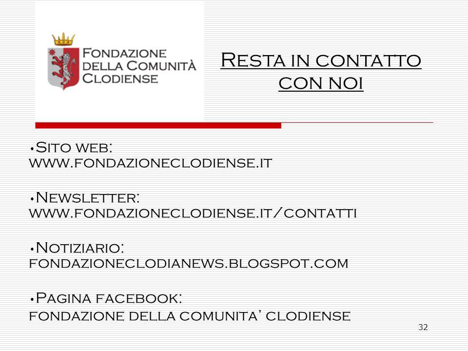 32 Sito web: www.fondazioneclodiense.it Newsletter: www.fondazioneclodiense.it/contatti Notiziario: fondazioneclodianews.blogspot.com Pagina facebook: fondazione della comunita clodiense Resta in contatto con noi