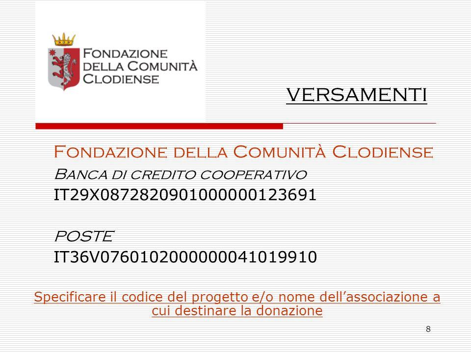 8 Fondazione della Comunità Clodiense Banca di credito cooperativo IT29X0872820901000000123691 POSTE IT36V0760102000000041019910 Specificare il codice del progetto e/o nome dellassociazione a cui destinare la donazione versamenti
