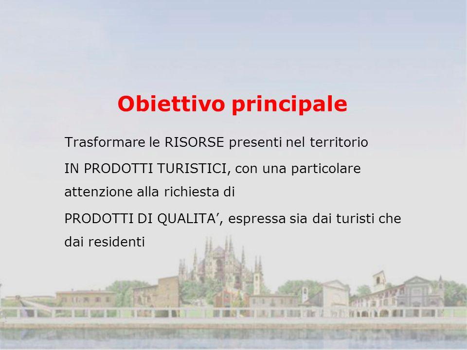 Obiettivo principale Trasformare le RISORSE presenti nel territorio IN PRODOTTI TURISTICI, con una particolare attenzione alla richiesta di PRODOTTI DI QUALITA, espressa sia dai turisti che dai residenti