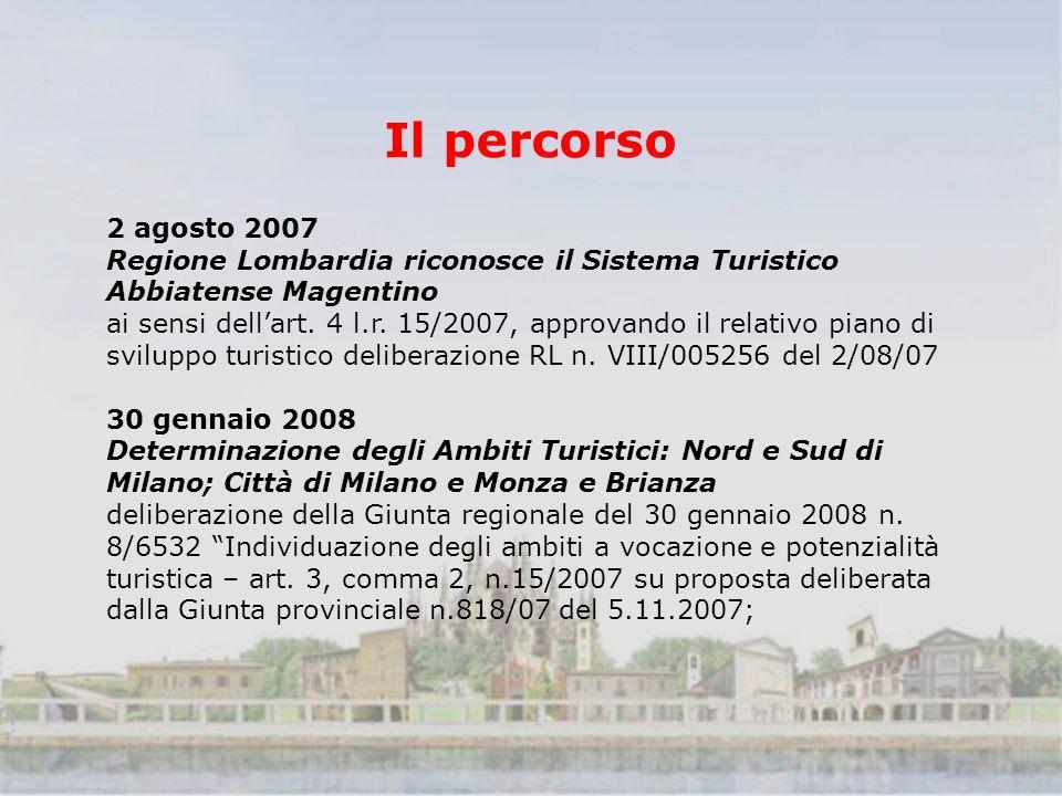 Il percorso 2 agosto 2007 Regione Lombardia riconosce il Sistema Turistico Abbiatense Magentino ai sensi dellart.