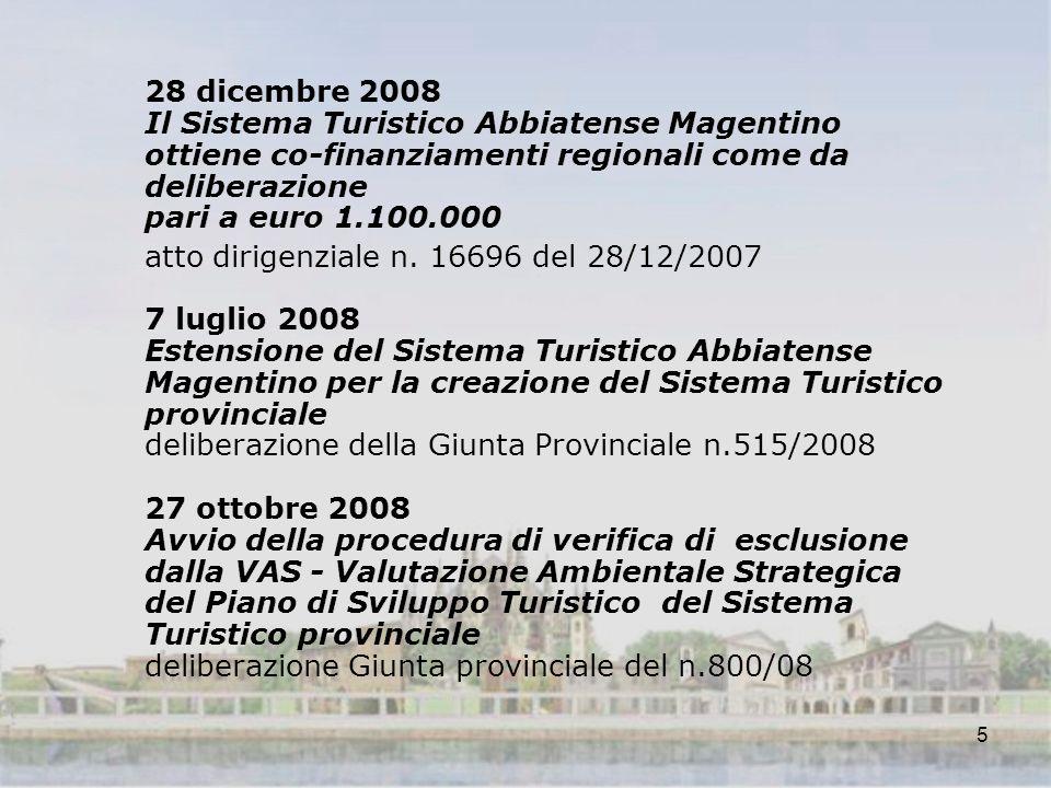 5 28 dicembre 2008 Il Sistema Turistico Abbiatense Magentino ottiene co-finanziamenti regionali come da deliberazione pari a euro 1.100.000 atto dirigenziale n.