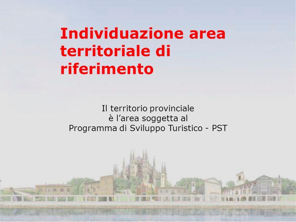 Individuazione area territoriale di riferimento Il territorio provinciale è larea soggetta al Programma di Sviluppo Turistico - PST