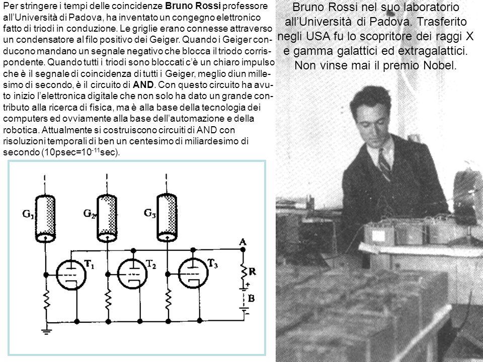 12 Per stringere i tempi delle coincidenze Bruno Rossi professore allUniversità di Padova, ha inventato un congegno elettronico fatto di triodi in con