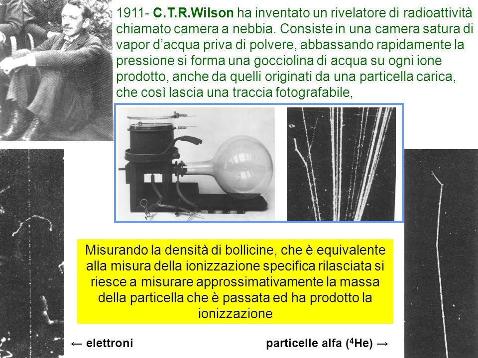 16 1911- C.T.R.Wilson ha inventato un rivelatore di radioattività chiamato camera a nebbia. Consiste in una camera satura di vapor dacqua priva di pol