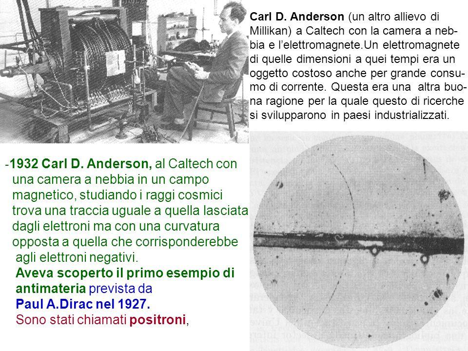 17 - 1932 Carl D. Anderson, al Caltech con una camera a nebbia in un campo magnetico, studiando i raggi cosmici trova una traccia uguale a quella lasc