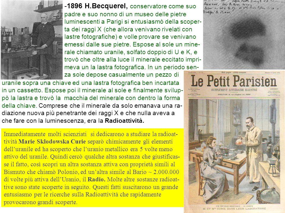 2 -1896 H.Becquerel, conservatore come suo padre e suo nonno di un museo delle pietre luminescenti a Parigi si entusiasmò della scoper- ta dei raggi X