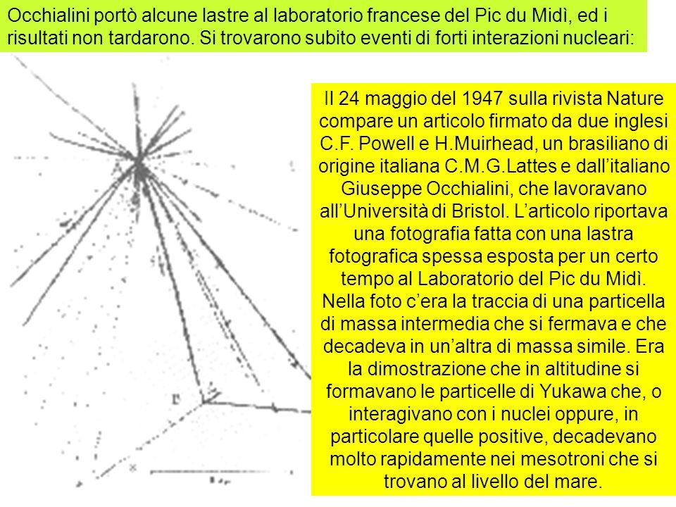 27 Il 24 maggio del 1947 sulla rivista Nature compare un articolo firmato da due inglesi C.F. Powell e H.Muirhead, un brasiliano di origine italiana C