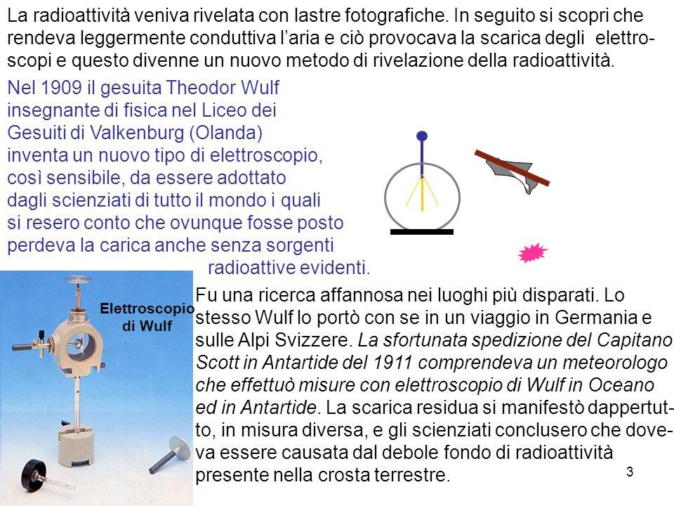 3 Nel 1909 il gesuita Theodor Wulf insegnante di fisica nel Liceo dei Gesuiti di Valkenburg (Olanda) inventa un nuovo tipo di elettroscopio, così sens