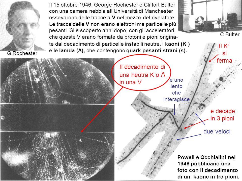 30 Powell e Occhialini nel 1948 pubblicano una foto con il decadimento di un kaone in tre pioni. Il 15 ottobre 1946, George Rochester e Cliffort Bulte