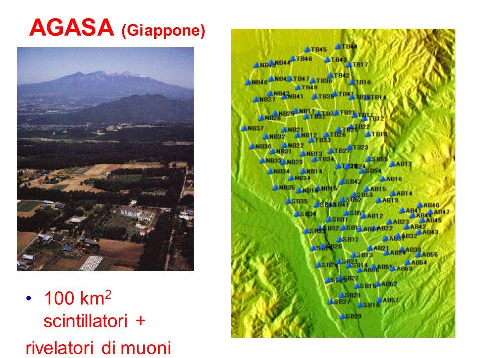 36 AGASA (Giappone) 100 km 2 scintillatori + rivelatori di muoni