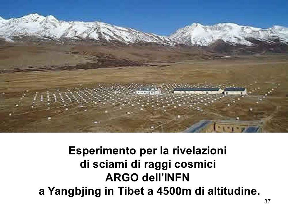 37 Esperimento per la rivelazioni di sciami di raggi cosmici ARGO dellINFN a Yangbjing in Tibet a 4500m di altitudine.