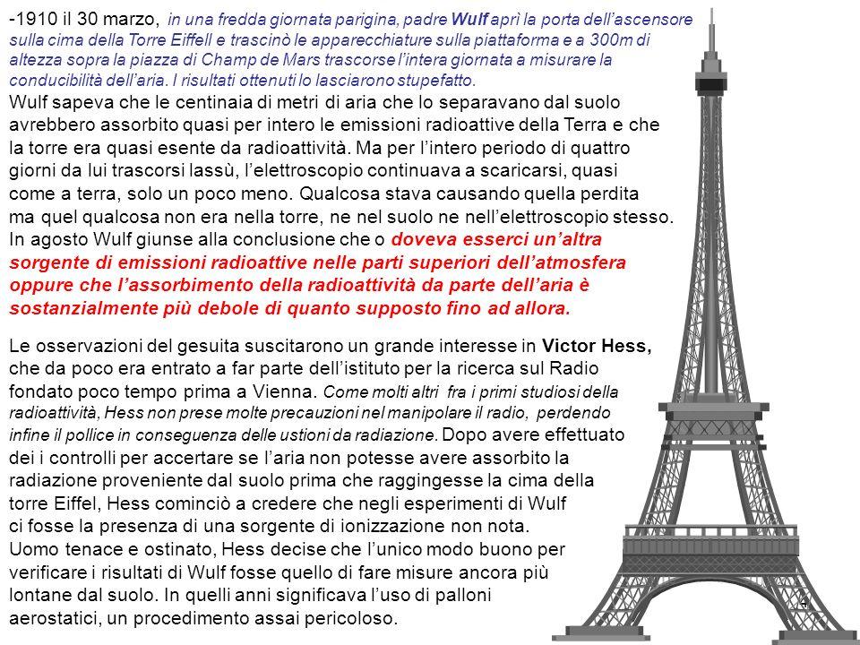 4 -1910 il 30 marzo, in una fredda giornata parigina, padre Wulf aprì la porta dellascensore sulla cima della Torre Eiffell e trascinò le apparecchiat
