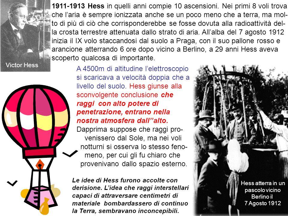 5 1911-1913 Hess in quelli anni compie 10 ascensioni. Nei primi 8 voli trova che laria è sempre ionizzata anche se un poco meno che a terra, ma mol- t