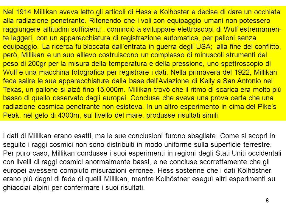 8 Nel 1914 Millikan aveva letto gli articoli di Hess e Kolhöster e decise di dare un occhiata alla radiazione penetrante. Ritenendo che i voli con equ