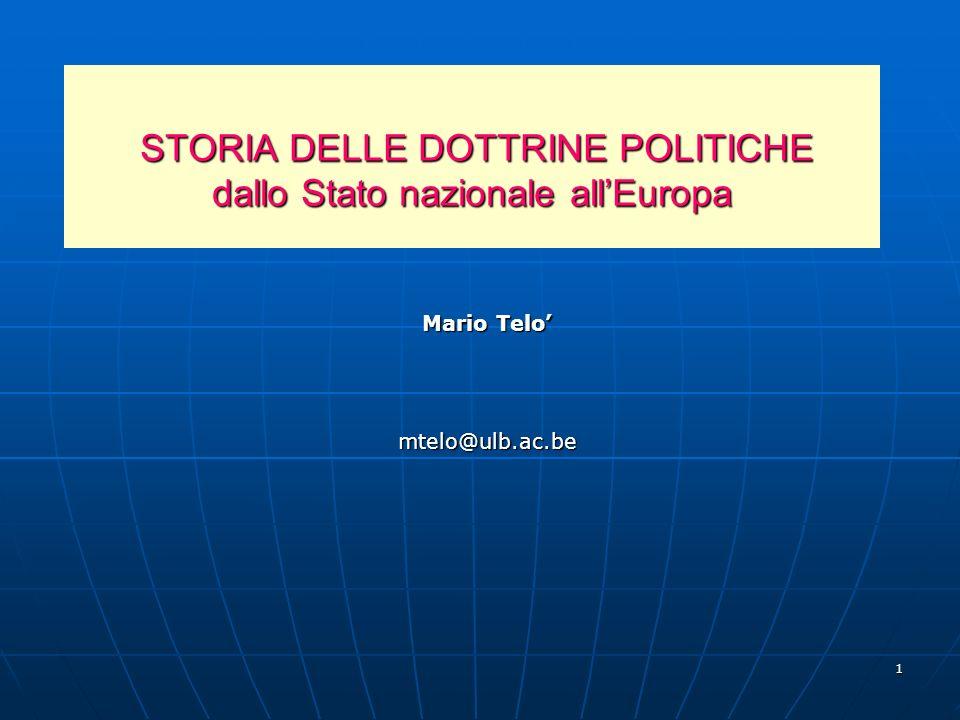 1 STORIA DELLE DOTTRINE POLITICHE dallo Stato nazionale allEuropa STORIA DELLE DOTTRINE POLITICHE dallo Stato nazionale allEuropa Mario Telo mtelo@ulb