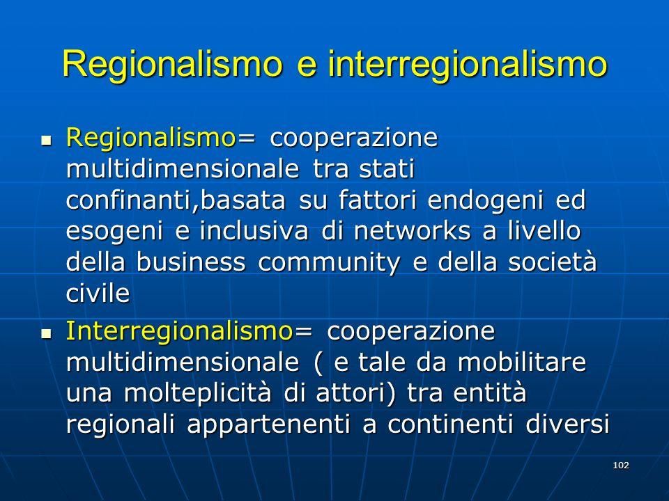102 Regionalismo e interregionalismo Regionalismo= cooperazione multidimensionale tra stati confinanti,basata su fattori endogeni ed esogeni e inclusi