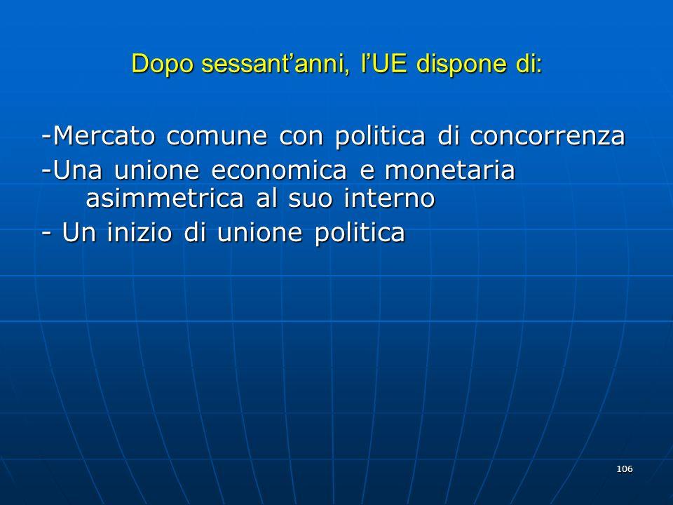 106 Dopo sessantanni, lUE dispone di: -Mercato comune con politica di concorrenza -Una unione economica e monetaria asimmetrica al suo interno - Un in