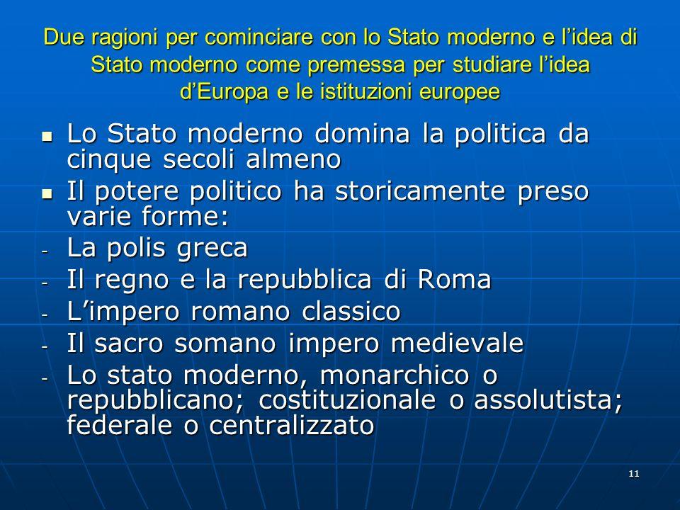 11 Due ragioni per cominciare con lo Stato moderno e lidea di Stato moderno come premessa per studiare lidea dEuropa e le istituzioni europee Lo Stato