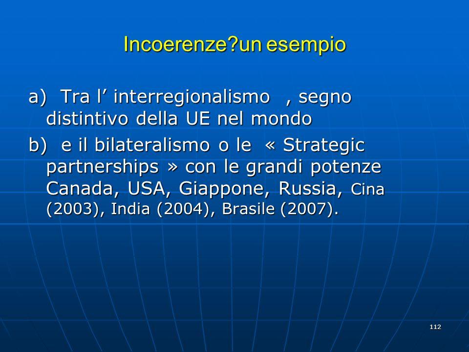 112 Incoerenze?un esempio a) Tra l interregionalismo, segno distintivo della UE nel mondo b) e il bilateralismo o le « Strategic partnerships » con le