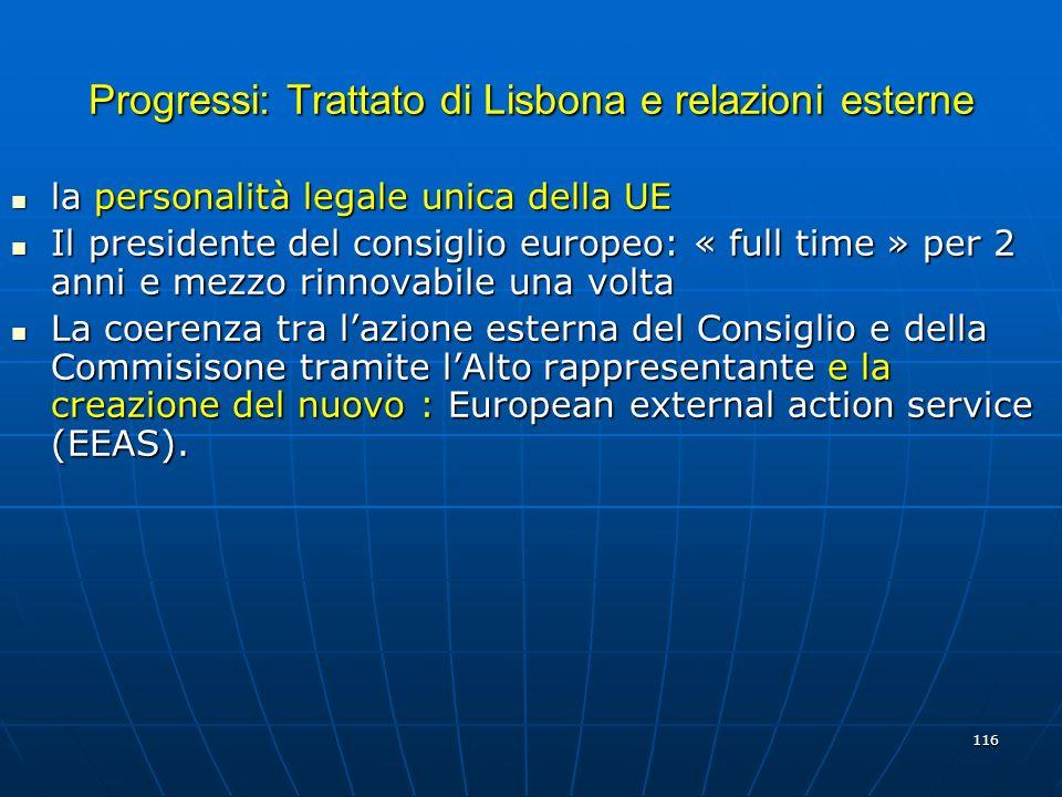 116 Progressi: Trattato di Lisbona e relazioni esterne la personalità legale unica della UE la personalità legale unica della UE Il presidente del con