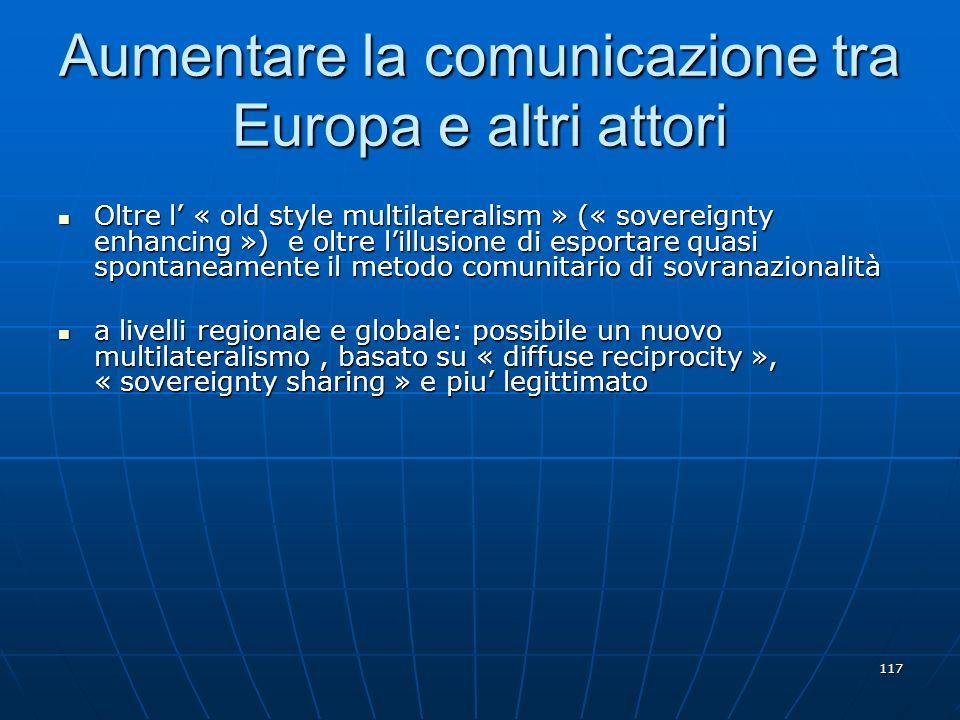 117 Aumentare la comunicazione tra Europa e altri attori Oltre l « old style multilateralism » (« sovereignty enhancing ») e oltre lillusione di espor