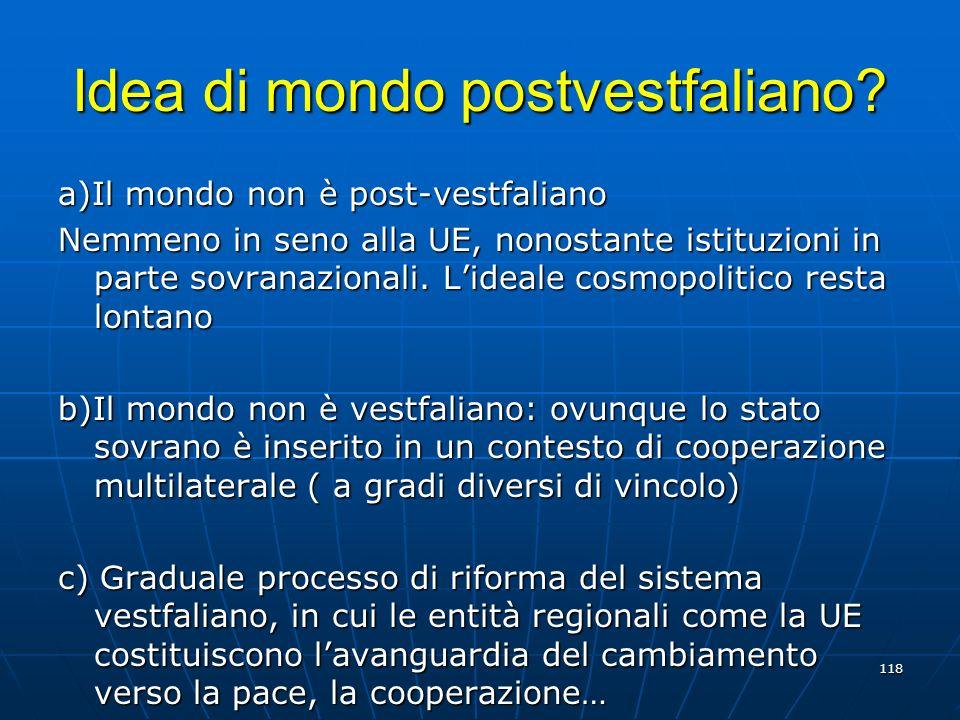 Idea di mondo postvestfaliano? a)Il mondo non è post-vestfaliano Nemmeno in seno alla UE, nonostante istituzioni in parte sovranazionali. Lideale cosm