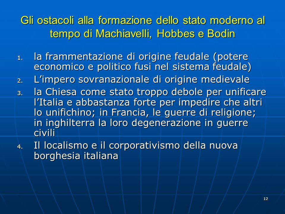 12 Gli ostacoli alla formazione dello stato moderno al tempo di Machiavelli, Hobbes e Bodin 1. la frammentazione di origine feudale (potere economico