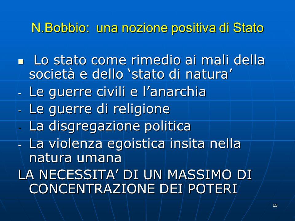 15 N.Bobbio: una nozione positiva di Stato Lo stato come rimedio ai mali della società e dello stato di natura Lo stato come rimedio ai mali della soc