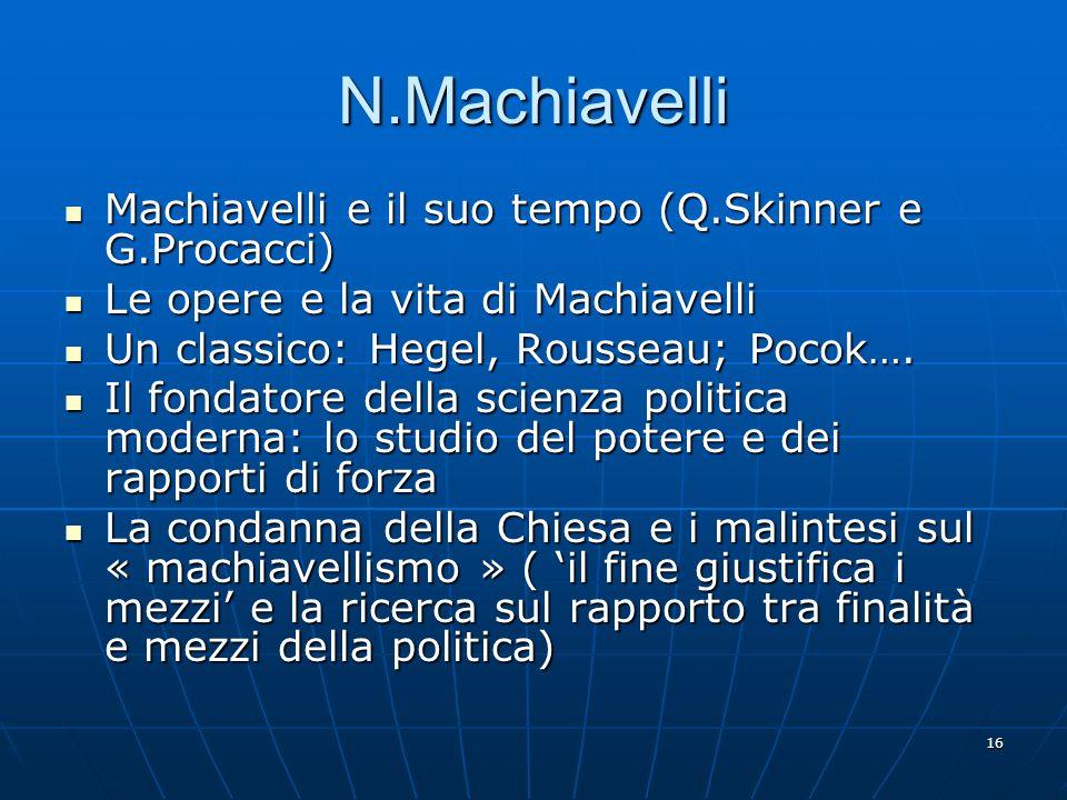 16 N.Machiavelli Machiavelli e il suo tempo (Q.Skinner e G.Procacci) Machiavelli e il suo tempo (Q.Skinner e G.Procacci) Le opere e la vita di Machiav