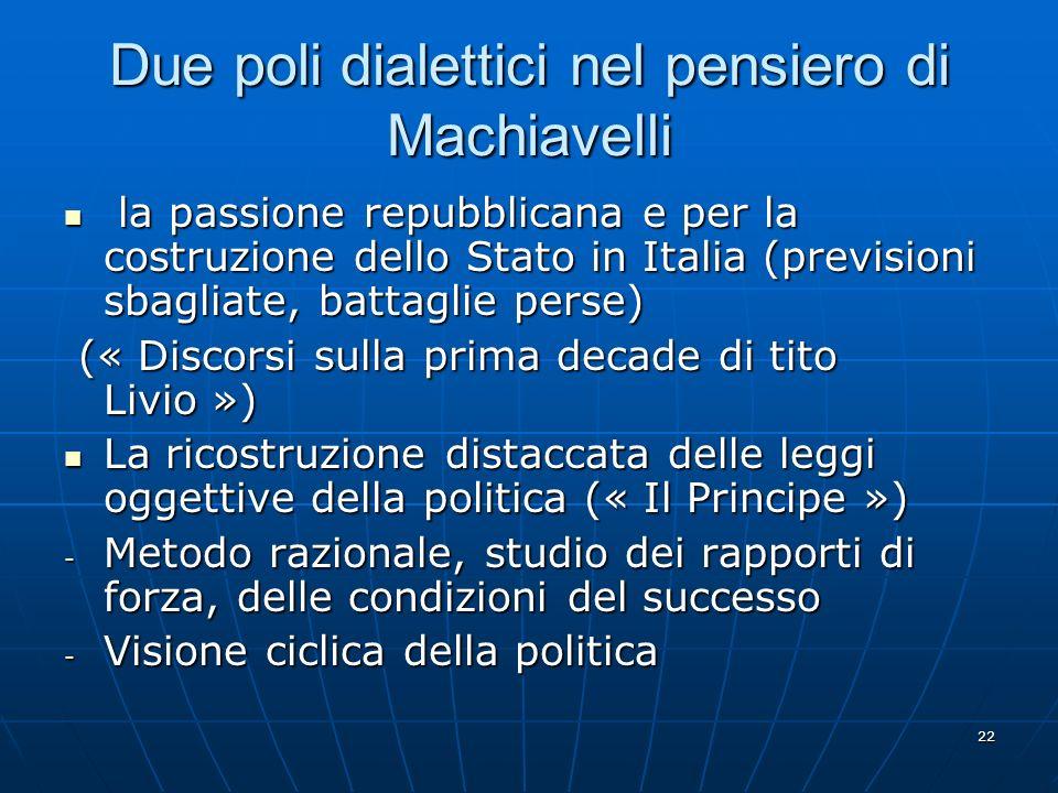 22 Due poli dialettici nel pensiero di Machiavelli la passione repubblicana e per la costruzione dello Stato in Italia (previsioni sbagliate, battagli