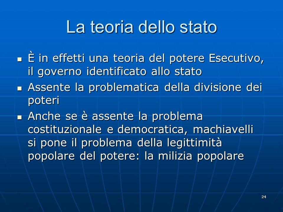 24 La teoria dello stato È in effetti una teoria del potere Esecutivo, il governo identificato allo stato È in effetti una teoria del potere Esecutivo