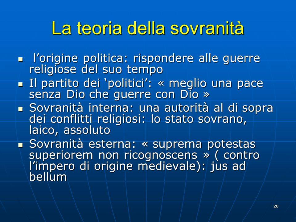 28 La teoria della sovranità lorigine politica: rispondere alle guerre religiose del suo tempo lorigine politica: rispondere alle guerre religiose del